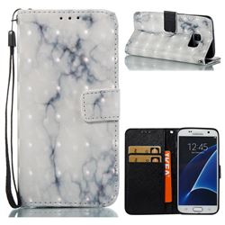 White Gray Marble 3D Painted Leather Wallet Case for Samsung Galaxy S7 G930
