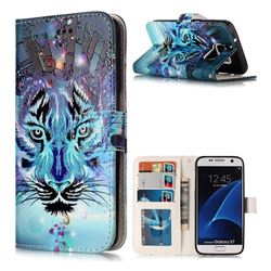Ice Wolf 3D Relief Oil PU Leather Wallet Case for Samsung Galaxy S7 G930