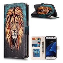 Ice Lion 3D Relief Oil PU Leather Wallet Case for Samsung Galaxy S7 G930