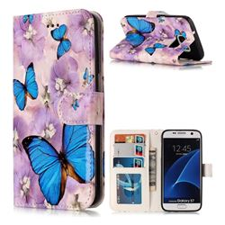 Purple Flowers Butterfly 3D Relief Oil PU Leather Wallet Case for Samsung Galaxy S7 G930