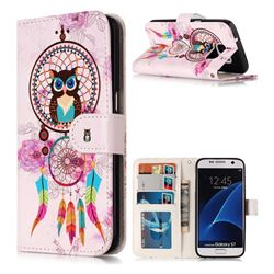 Wind Chimes Owl 3D Relief Oil PU Leather Wallet Case for Samsung Galaxy S7 G930