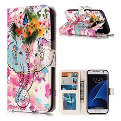 Flower Elephant 3D Relief Oil PU Leather Wallet Case for Samsung Galaxy S7 G930