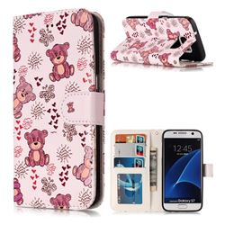 Cute Bear 3D Relief Oil PU Leather Wallet Case for Samsung Galaxy S7 G930