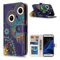 Folk Owl 3D Relief Oil PU Leather Wallet Case for Samsung Galaxy S7 G930