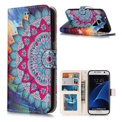 Mandala Flower 3D Relief Oil PU Leather Wallet Case for Samsung Galaxy S7 G930