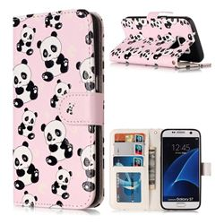 Cute Panda 3D Relief Oil PU Leather Wallet Case for Samsung Galaxy S7 G930