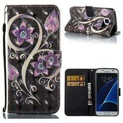 Peacock Flower 3D Painted Leather Wallet Case for Samsung Galaxy S7 G930