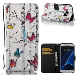 Colored Butterflies 3D Painted Leather Wallet Case for Samsung Galaxy S7 G930