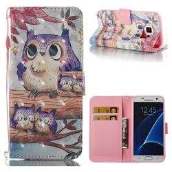 Purple Owl 3D Painted Leather Wallet Case for Samsung Galaxy S7 G930