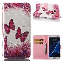 Rose Butterfly 3D Painted Leather Wallet Case for Samsung Galaxy S7 G930