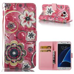 Tulip Flower 3D Painted Leather Wallet Case for Samsung Galaxy S7 G930