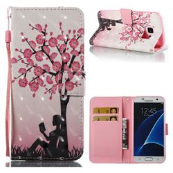 Plum Girl 3D Painted Leather Wallet Case for Samsung Galaxy S7 G930