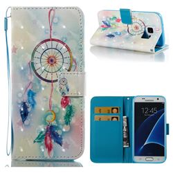Feather Wind Chimes 3D Painted Leather Wallet Case for Samsung Galaxy S7 G930