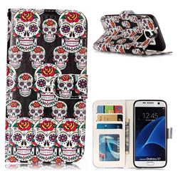 Flower Skull 3D Relief Oil PU Leather Wallet Case for Samsung Galaxy S7 G930