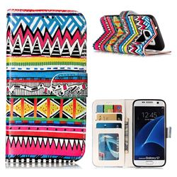 Tribal Pattern 3D Relief Oil PU Leather Wallet Case for Samsung Galaxy S7 G930