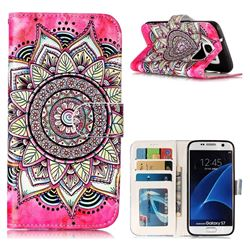 Rose Mandala 3D Relief Oil PU Leather Wallet Case for Samsung Galaxy S7 G930