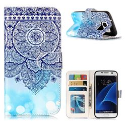 Totem Flower 3D Relief Oil PU Leather Wallet Case for Samsung Galaxy S7 G930