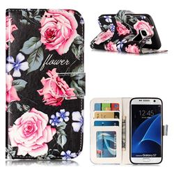 Peony 3D Relief Oil PU Leather Wallet Case for Samsung Galaxy S7 G930