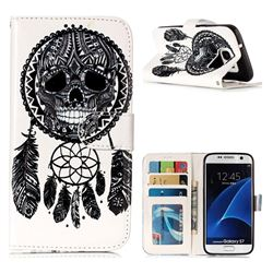 Wind Chimes Skull 3D Relief Oil PU Leather Wallet Case for Samsung Galaxy S7 G930