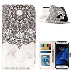 Marble Mandala 3D Relief Oil PU Leather Wallet Case for Samsung Galaxy S7 G930