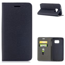 Tree Bark Pattern Automatic suction Leather Wallet Case for Samsung Galaxy S7 G930 - Black