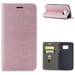 Tree Bark Pattern Automatic suction Leather Wallet Case for Samsung Galaxy S7 G930 - Rose Gold