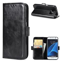 Luxury Crazy Horse PU Leather Wallet Case for Samsung Galaxy S7 G930 - Black