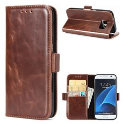 Luxury Crazy Horse PU Leather Wallet Case for Samsung Galaxy S7 G930 - Coffee