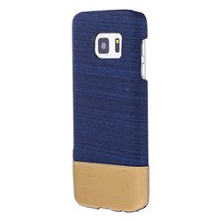 Canvas Cloth Coated Plastic Back Cover for Samsung Galaxy S7 G930 - Dark Blue