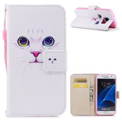 White Cat PU Leather Wallet Case for Samsung Galaxy S7 G930