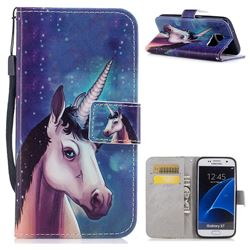 Blue Unicorn PU Leather Wallet Case for Samsung Galaxy S7 G930
