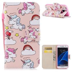 Rainbow Unicorn PU Leather Wallet Case for Samsung Galaxy S7 G930