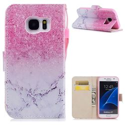 Marble Powder PU Leather Wallet Case for Samsung Galaxy S7 G930
