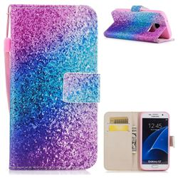 Rainbow Sand PU Leather Wallet Case for Samsung Galaxy S7 G930