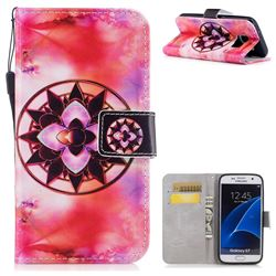 Red Mandala PU Leather Wallet Case for Samsung Galaxy S7 G930
