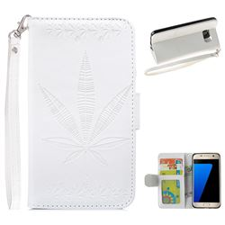 Intricate Embossing Maple Leather Wallet Case for Samsung Galaxy S7 G930 - White