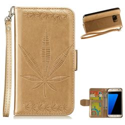 Intricate Embossing Maple Leather Wallet Case for Samsung Galaxy S7 G930 - Champagne