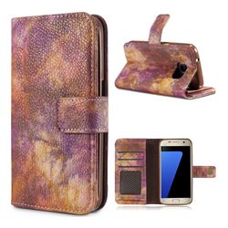 Luxury Retro Forest Series Leather Wallet Case for Samsung Galaxy S7 G930 - Purple