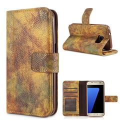 Luxury Retro Forest Series Leather Wallet Case for Samsung Galaxy S7 G930 - Yellow