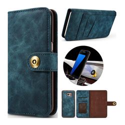 Luxury Vintage Split Separated Leather Wallet Case for Samsung Galaxy S7 G930 - Navy Blue