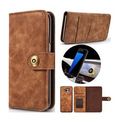 Luxury Vintage Split Separated Leather Wallet Case for Samsung Galaxy S7 G930 - Brown