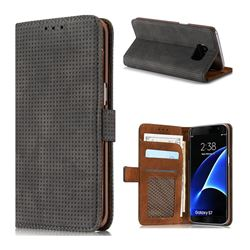Luxury Vintage Mesh Monternet Leather Wallet Case for Samsung Galaxy S7 G930 - Black