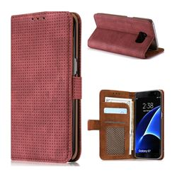 Luxury Vintage Mesh Monternet Leather Wallet Case for Samsung Galaxy S7 G930 - Rose