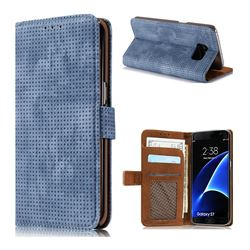Luxury Vintage Mesh Monternet Leather Wallet Case for Samsung Galaxy S7 G930 - Blue