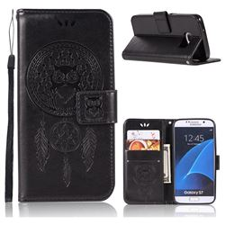 Intricate Embossing Owl Campanula Leather Wallet Case for Samsung Galaxy S7 G930 - Black