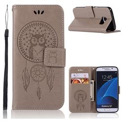 Intricate Embossing Owl Campanula Leather Wallet Case for Samsung Galaxy S7 G930 - Grey