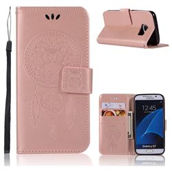 Intricate Embossing Owl Campanula Leather Wallet Case for Samsung Galaxy S7 G930 - Rose Gold
