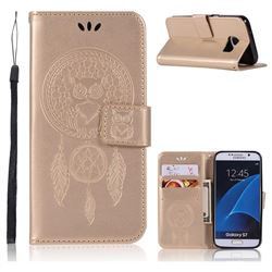 Intricate Embossing Owl Campanula Leather Wallet Case for Samsung Galaxy S7 G930 - Champagne