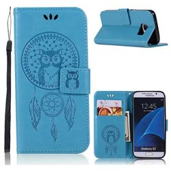 Intricate Embossing Owl Campanula Leather Wallet Case for Samsung Galaxy S7 G930 - Blue