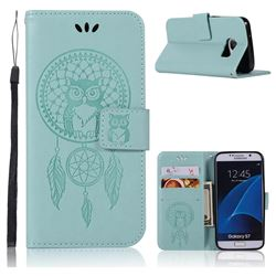 Intricate Embossing Owl Campanula Leather Wallet Case for Samsung Galaxy S7 G930 - Green